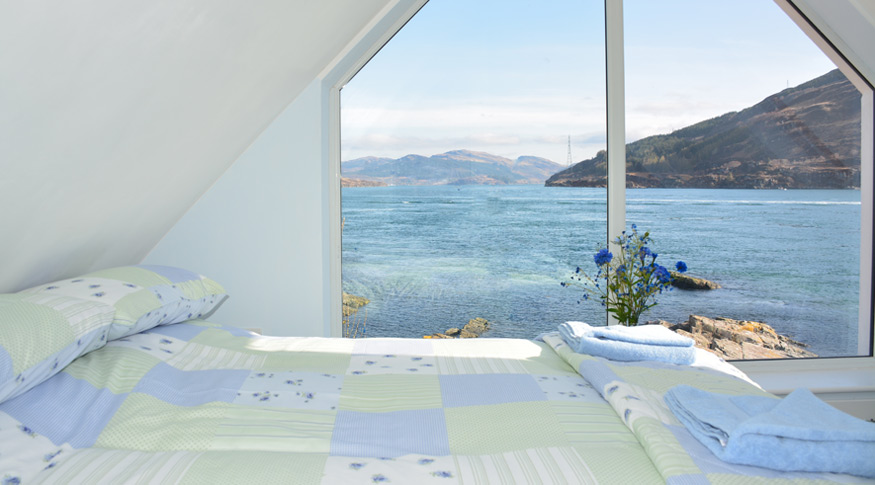 The double bedroom overlooking the Kylerhea narrows